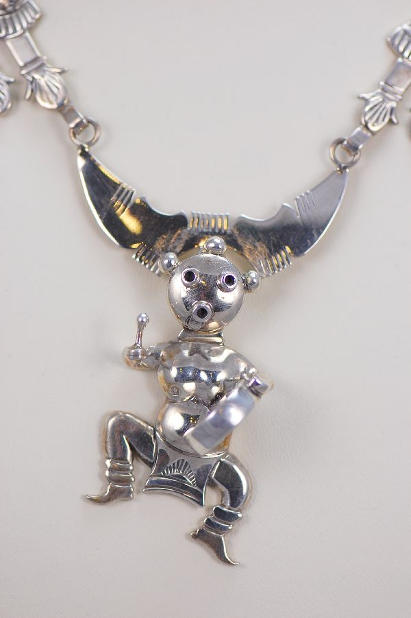 Navajo - Unusual Sterling Silver Kachina Necklace by Benson Ration
