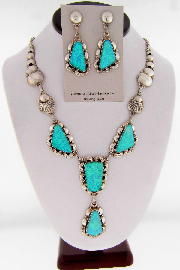 Elegant Lab Opal Necklace and Earrings