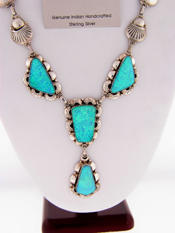 Navajo – Elegant Lab Opal Necklace and Earring Set by Clement Nalwood