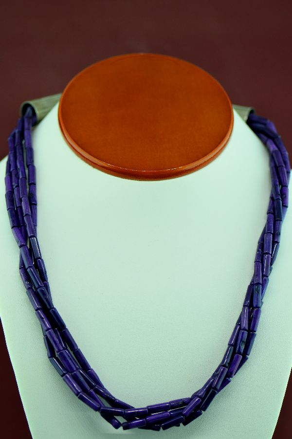 Navajo – Sterling Silver 4 Strand Dyed Purple Coral Necklace by Alvin Joe