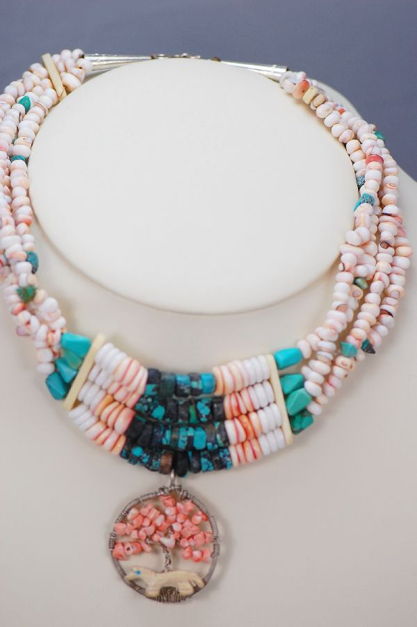 Santo Domingo – Four Strand Spiny Oyster Necklace with a Medicine Wheel Pendant by Ava Marie Coriz