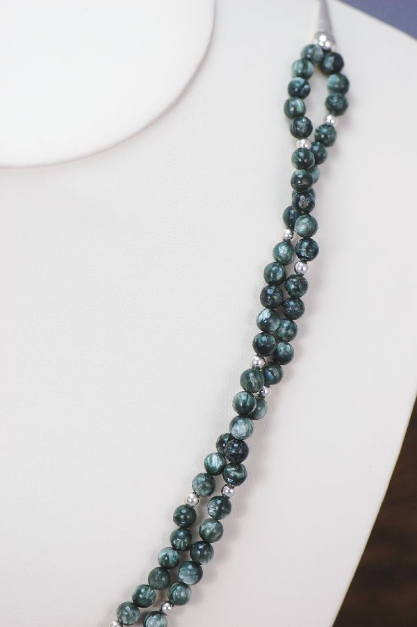 Navajo - Two Strand Seraphinite Necklace with Sterling Silver Beads