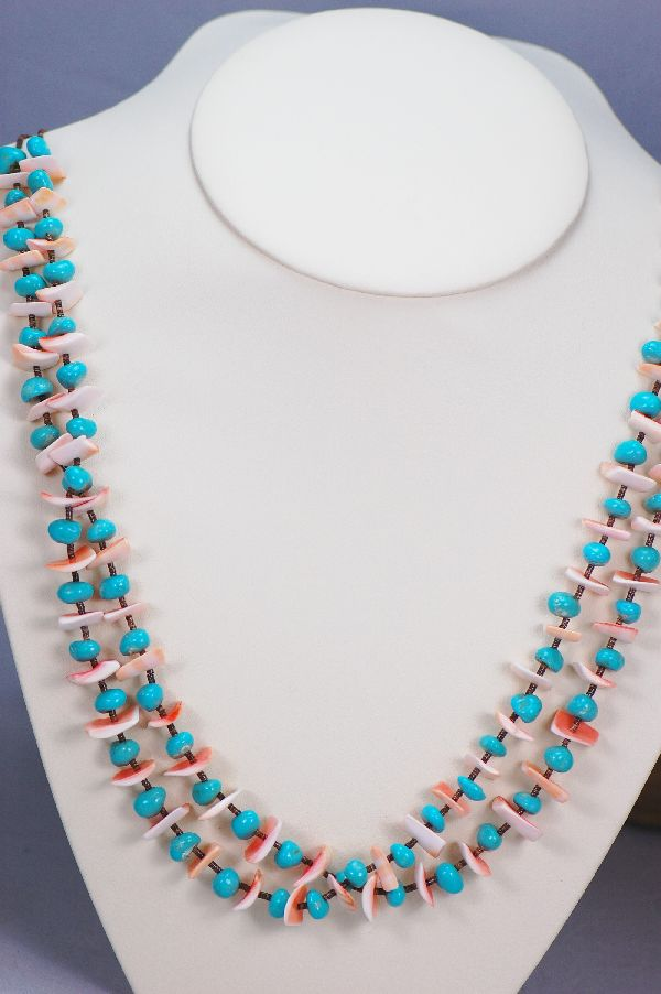 Santo Domingo - Two Strand Sleeping Beauty Turquoise and Spiny Oyster Shell