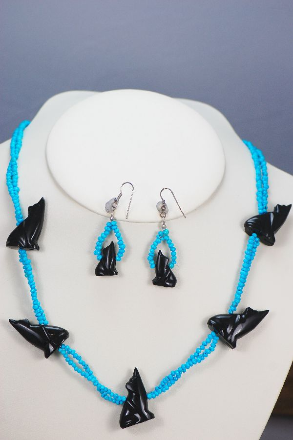 Navajo – Two Strand Turquoise and Jet Coyote Fetish Necklace and Earrings