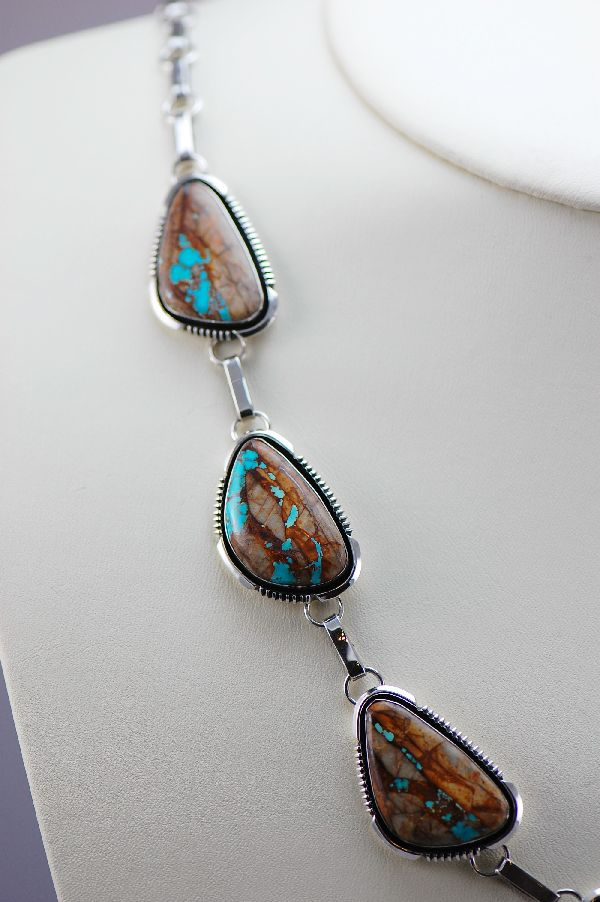 Navajo – Natural Royston Blue Ribbon Necklace and Earring Set by Will Denetdale