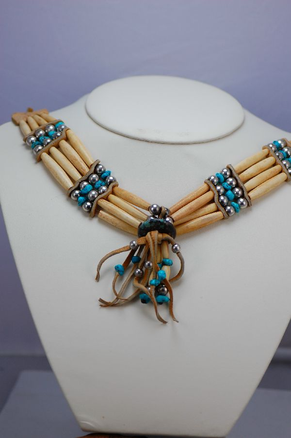 Cherokee – Traditional Turquoise Bone Choker by Pam Loyal