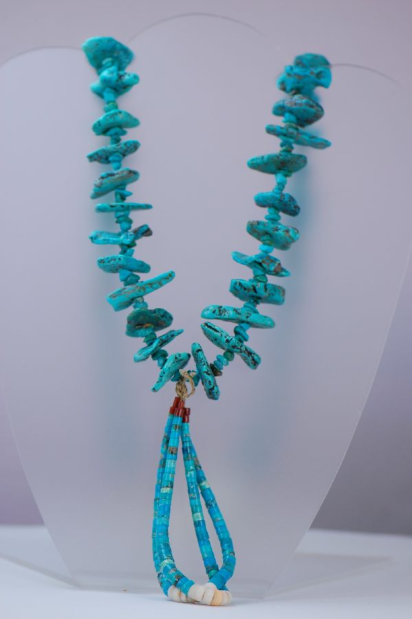 Santo Domingo Kingman Turquoise Jocla Necklace (Private Collection)