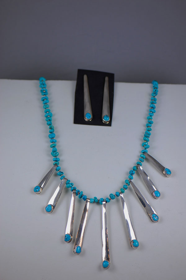Navajo – Sleeping Beauty Turquoise Necklace with Sterling Silver Beads and Paddles with Matching Earrings
