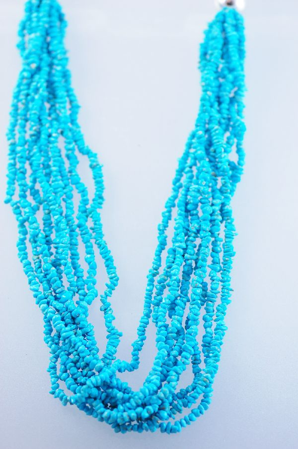 Navajo 9 Strand Sleeping Beauty Nugget Turquoise Necklace