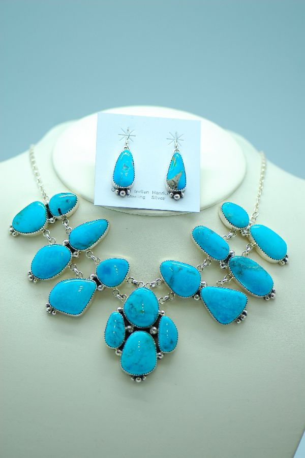 Navajo – Exquisite Contemporary Sterling Silver Nakasari Turquoise Necklace and Earrings by Jimmie Lee