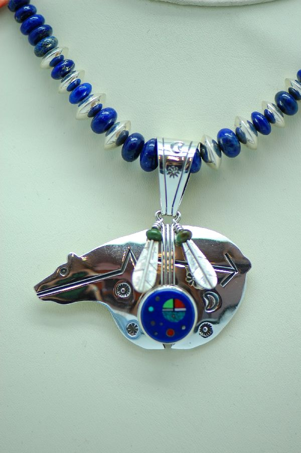 Navajo – Sterling Silver Inlaid Spirit Line Bear Necklace and Earrings by Virginia Benally