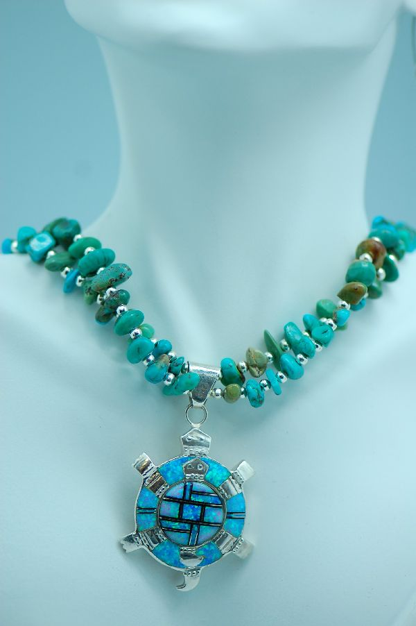 Navajo � Sterling Silver Double Strand Kingman Turquoise Necklace and Sterling Silver Lab Opal Inlaid Turtle by Lucy Cayatineto