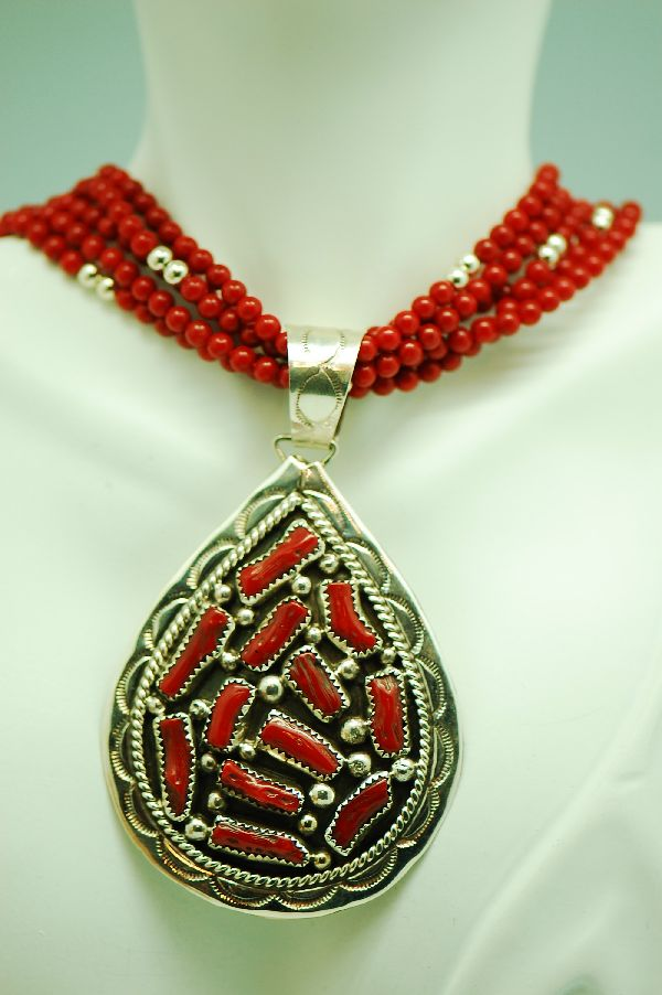 Navajo – Natural Mediterranean Branch Coral Sterling Silver Pendant and 5 Strand Coral Necklace by Mary John