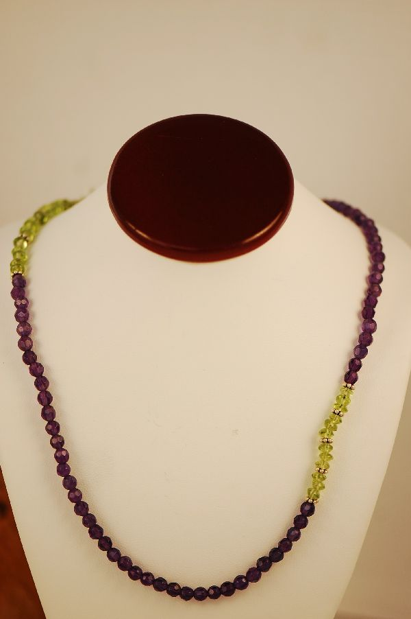 Navajo -Amethyst and Peridot Sterling Silver Bead Necklace