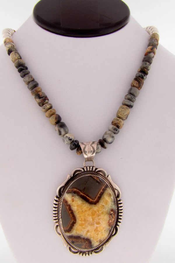 Navajo - Exquisite Sterling Silver Septarian Necklace by Will Denetdale