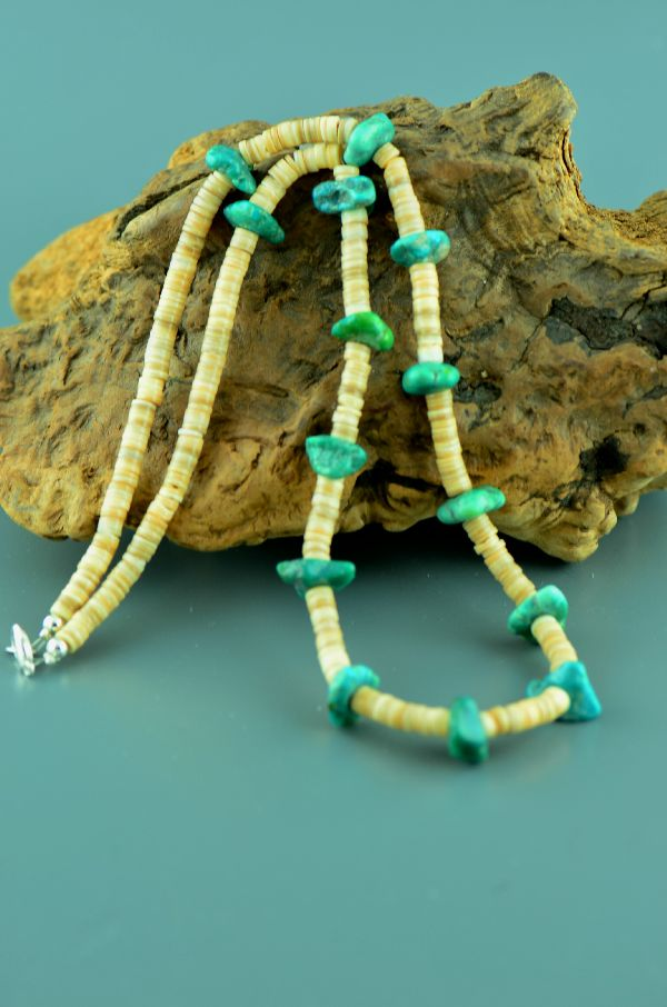 Navajo – Kingman Turquoise and Pen Shell Necklace by Cameron Turpen