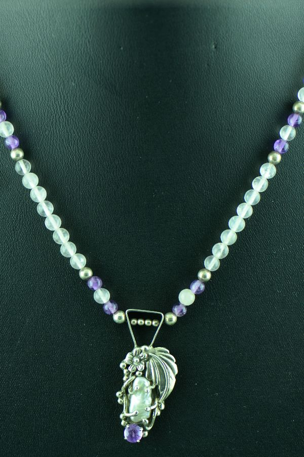 Navajo - Exquisite Brazilian Amethyst and Fresh Water Pearl Necklace by Fritson Toledo