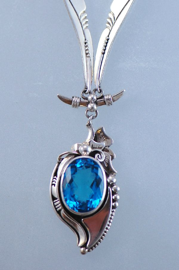Navajo - Exquisite London Blue Topaz Sterling Silver Necklace by Les Baker and Fritson Toledo