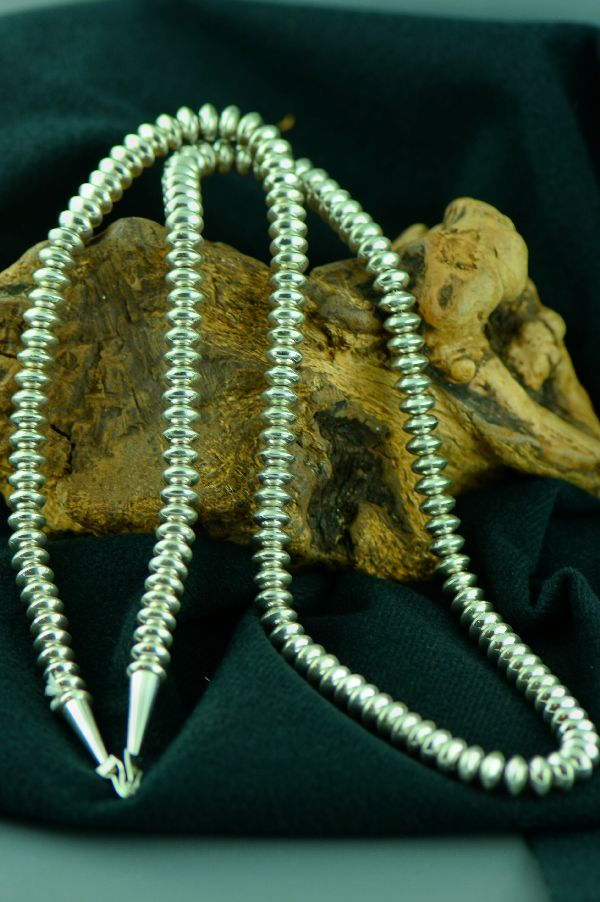 Navajo � Sterling Silver Bench Made Bead Necklace 30� long