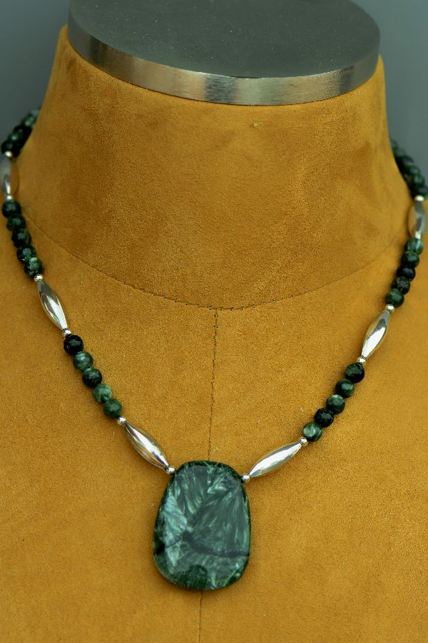 Navajo  – Seraphinite Necklace with Sterling Silver Beads