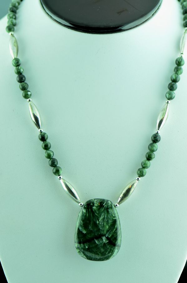 Seraphinite Necklace with Sterling Silver Beads