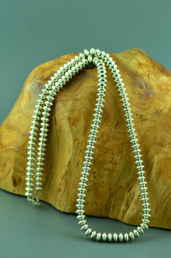 "Navajo – Sterling Silver Bead Necklace 24"" long"