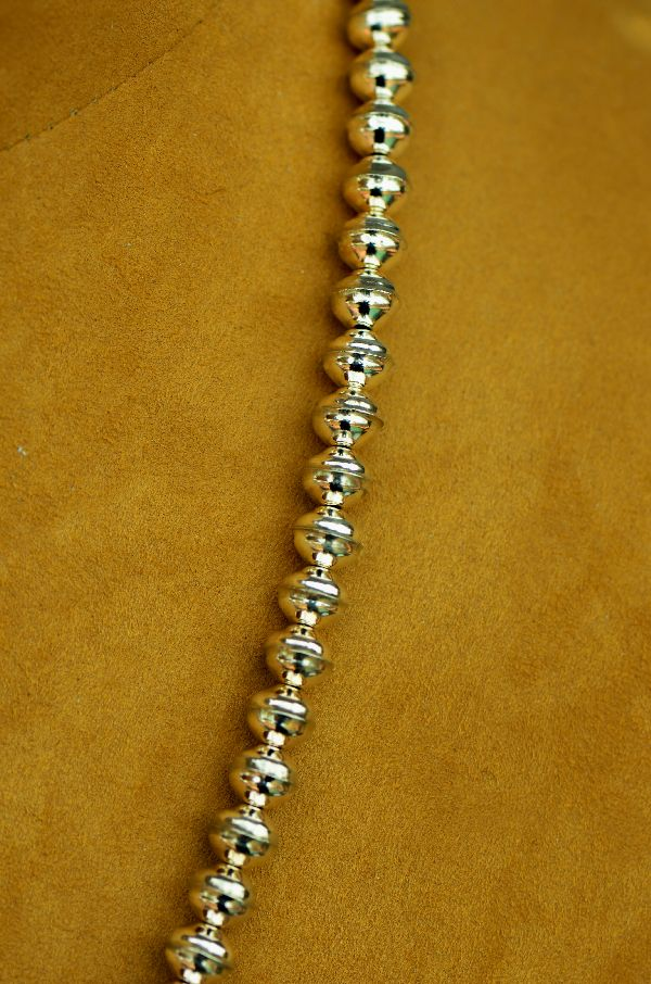 "Navajo – Sterling Silver Bead Necklace 24"" long by Mary Begay"