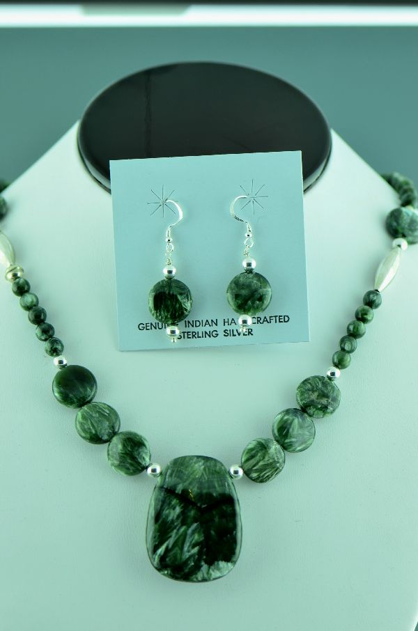 Navajo � Seraphinite Necklace with Sterling Silver Beads and Earrings