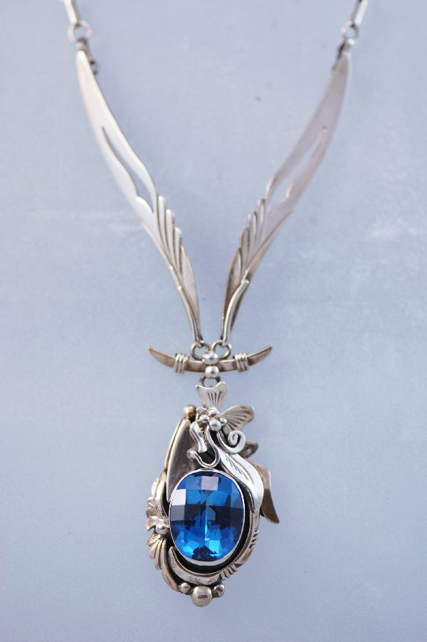 Navajo - Exquisite London Blue Topaz Sterling Silver Necklace by Les Baker andm Fritson Toledo