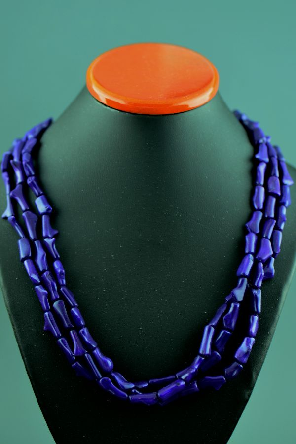 Navajo – 3 Strand Dyed Purple Coral Necklace