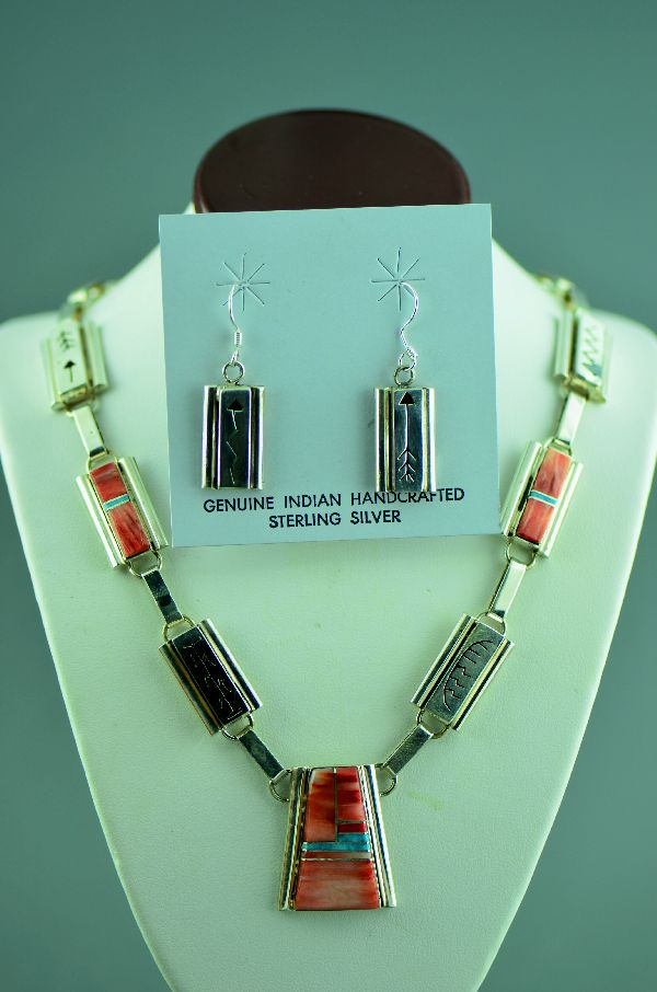 Navajo – Exquisite Spiny Oyster Shell and Turquoise Inlaid Sterling Silver Necklace and Earrings by Ernest Clark and Sandra Parkett