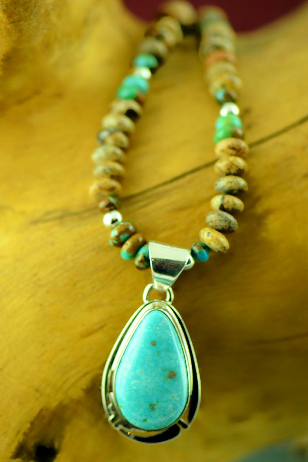 Navajo – Sterling Silver Manassa Turquoise Pendant and Necklace by Phillip Sanchez