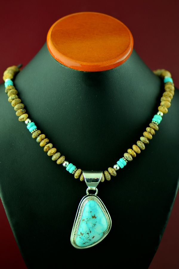 Navajo Sterling Silver Kingman Turquoise Pendant and Necklace by Lucy J. Valencia