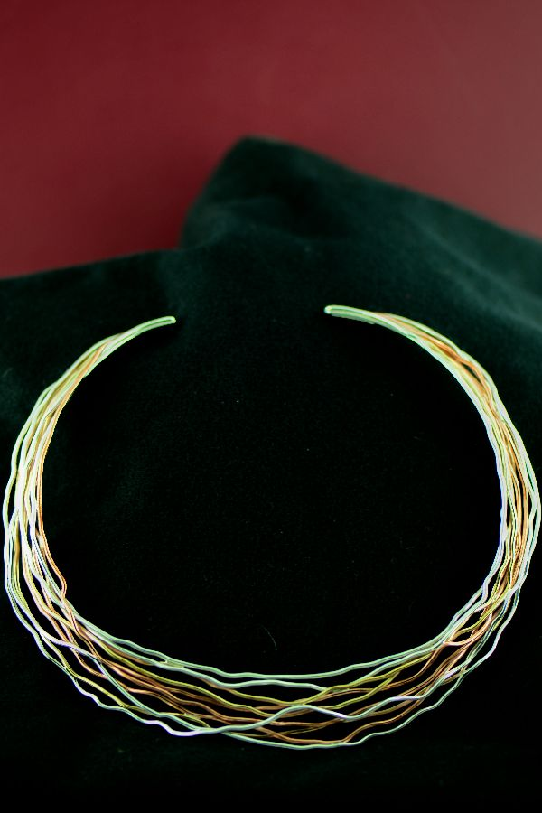 Navajo Sterling Silver, Copper and 12ktGF Branch Wire Collar/Necklace by Juan Platero