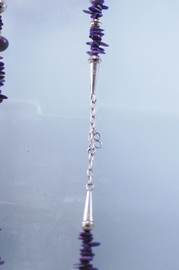 "Santo Domingo - 29"" Sugilite and Sterling Silver Bead Necklace"