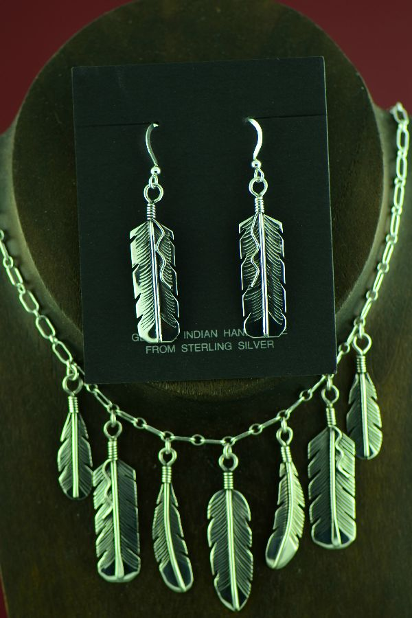 Navajo Sterling Silver 7 Feather Necklace with matching Earrings by the Mace Family