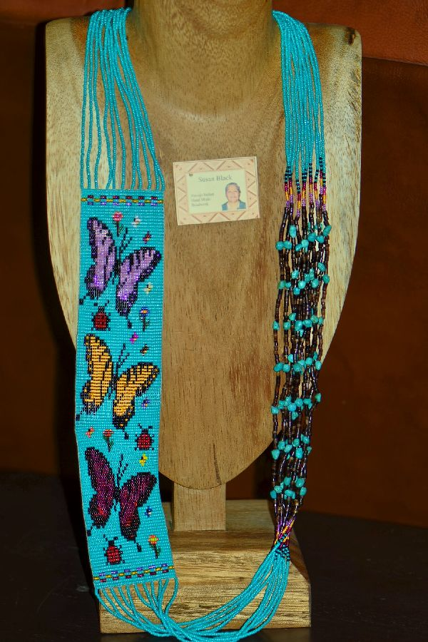 Navajo Multi-Colored 11 Strand Seed Bead, Pen Shell and Turquoise Butterfly, Flower and Lady Bug Necklace by Susan Black