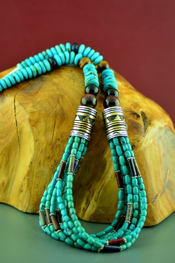 Navajo Sterling Silver and 12ktGF Tiger Eye, Lapis, Agate, Black Onyx and Sleeping Beauty Turquoise Eight Strand Graduated Disc Bead Necklace by Rosita Singer