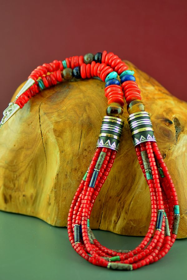 Navajo Sterling Silver and 12ktGF Apple Coral, Tiger Eye, Lapis, Agate, and Sleeping Beauty Turquoise Eight Strand Graduated Disc Bead Necklace by Rosita Singer