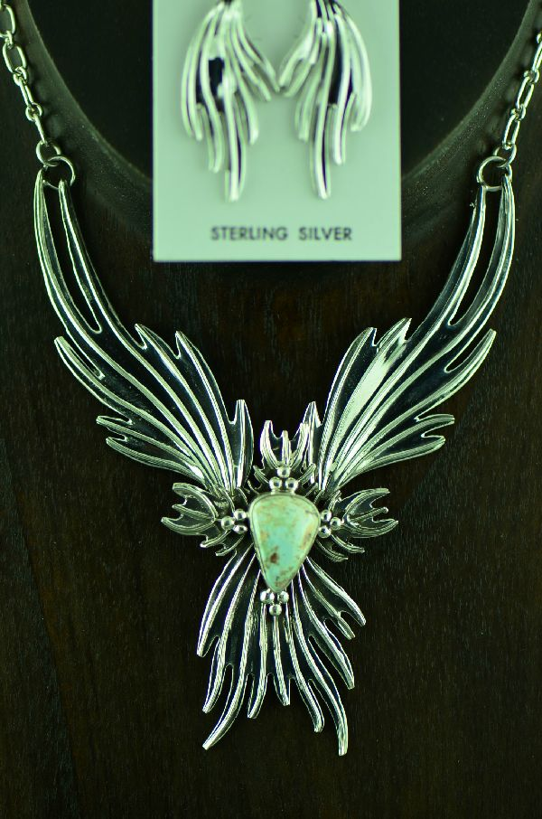 Navajo Elegant Sterling Silver Phoenix Firebird Dry Creek Turquoise Necklace and Earring Set by Charles Johnson