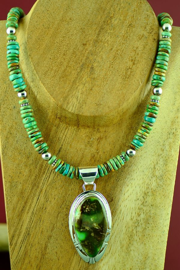 Navajo Sterling Silver Royston Turquoise Pendant and Necklace by Phillip Sanchez