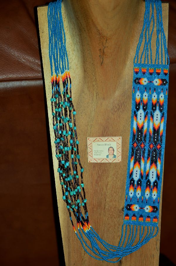 Navajo Multi-Colored 10 Strand Seed Bead, Pen Shell and Turquoise Prayer Feather and Rug Pattern Necklace by Susan Black