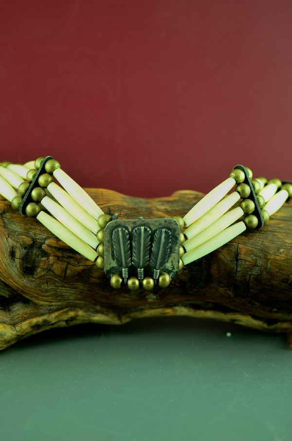 Yakima-Shoshone Traditional Bone Choker with Sterling Silver Feathers by Jamie Two Feathers (Private Collection)