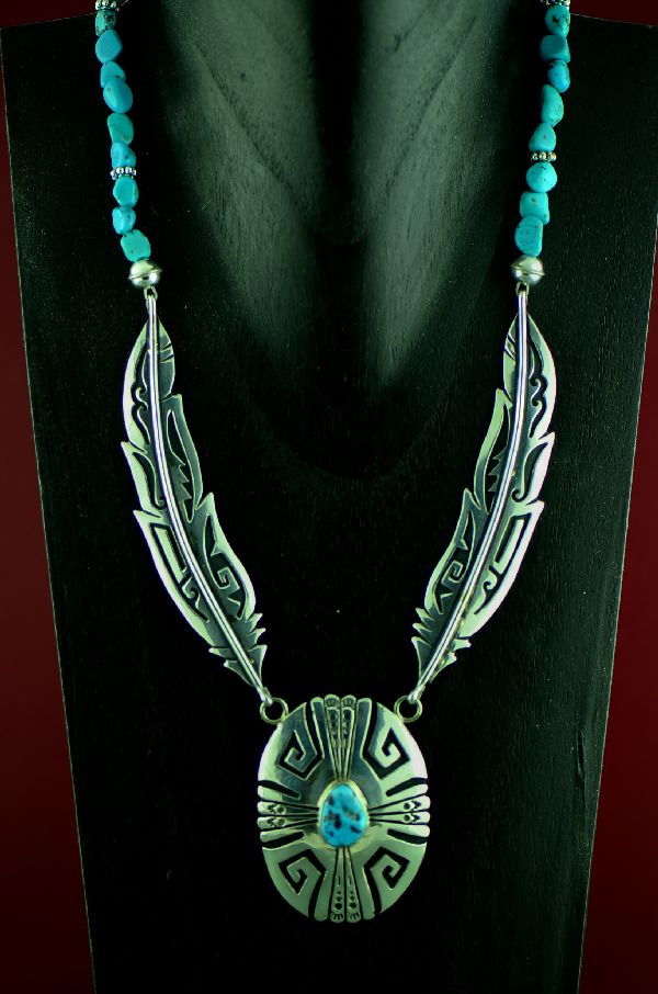 Navajo Sterling Silver Feather Sleeping Beauty Turquoise Necklace by Rosita Singer