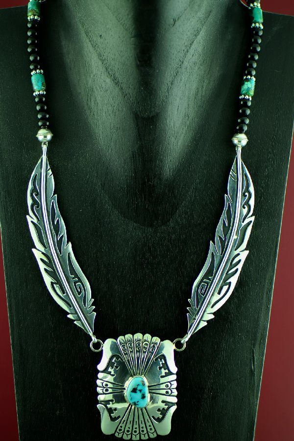 Navajo Sterling Silver Feather Sleeping Beauty Turquoise, Kingman Turquoise and Black Onyx Necklace by Rosita Singer