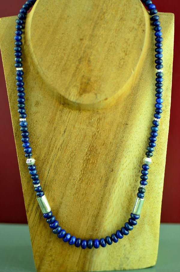 Navajo Sterling Silver Lapis Necklace by Rosita Singer
