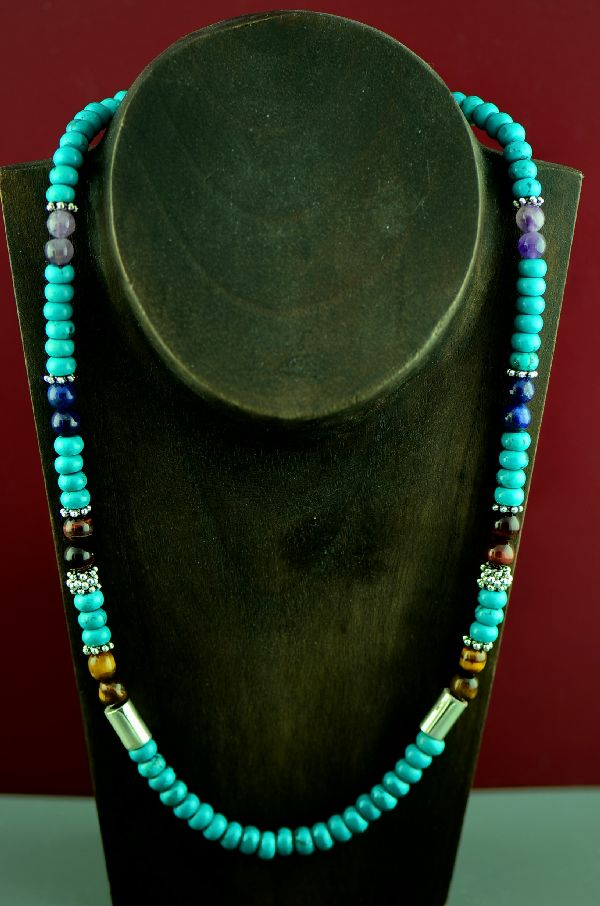 Navajo Sterling Silver Kingman Turquoise, Tiger Eye, Lapis and Agate Necklace by Rosita Singer
