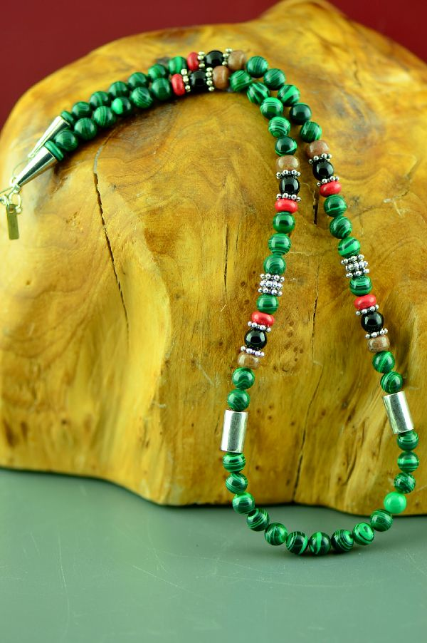 Navajo Sterling Silver Malachite, Apple Coral, Black Onyx and Agate Necklace by Rosita Singer