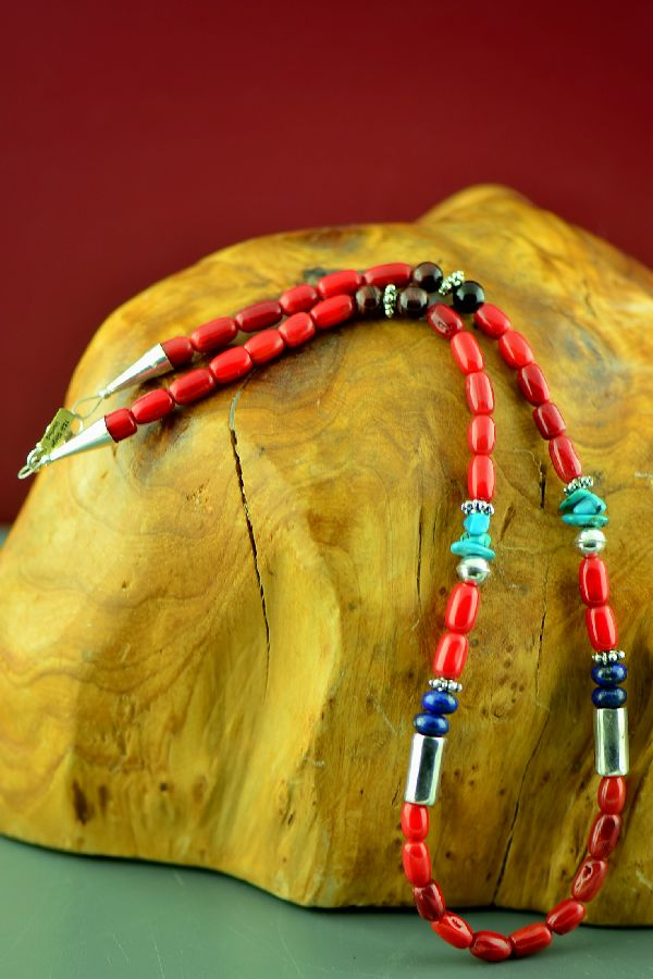 Navajo Sterling Silver Apple Coral, Kingman Turquoise, Lapis and Tiger Eye Necklace by Rosita Singer
