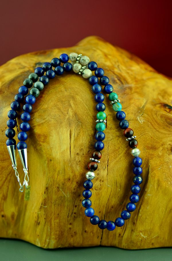 Navajo Sterling Silver Lapis, Agate and Kingman Turquoise Necklace by Rosita Singer